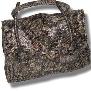 AUDREY BROOKE Genuine Leather Snakeskin Print Tote